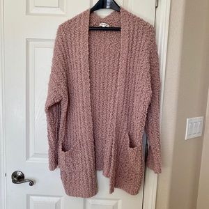 Vici Collection soft pink plush teddy cardigan
